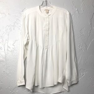 Sundance Pintuck Cream Peasant Top